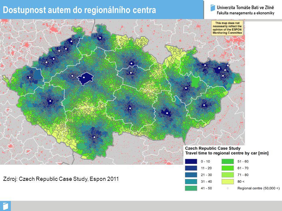 Dostupnost autem do regionálního centra Zdroj: Czech Republic Case Study, Espon 2011