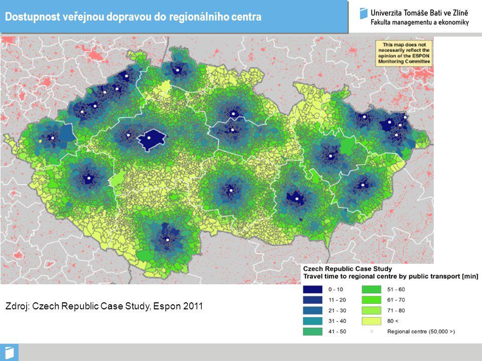 Dostupnost veřejnou dopravou do regionálního centra Zdroj: Czech Republic Case Study, Espon 2011