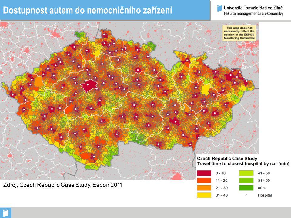 Dostupnost autem do nemocničního zařízení Zdroj: Czech Republic Case Study, Espon 2011