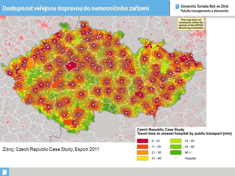 Dostupnost veřejnou dopravou do nemocničního zařízení Zdroj: Czech Republic Case Study, Espon 2011