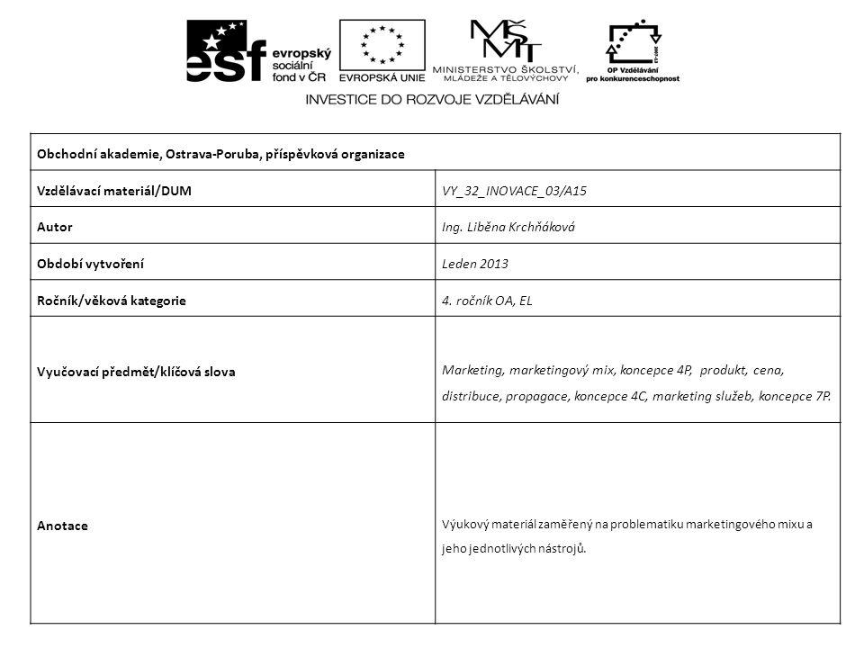 Marketing Marketingový mix CZ.1.07/1.5.00/34.0025 Projekt je financován z prostředků ESF prostřednictvím Operačního programu Vzdělávání pro konkurenceschopnost a státním rozpočtem České republiky.