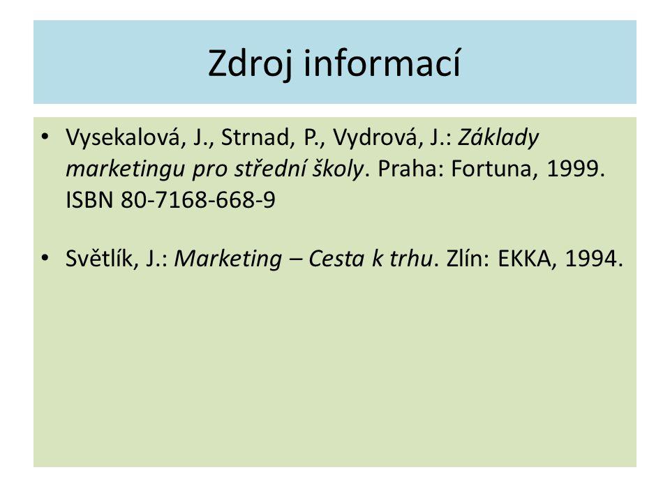 Zdroj informací Vysekalová, J., Strnad, P., Vydrová, J.: Základy marketingu pro střední školy. Praha: Fortuna, 1999. ISBN 80-7168-668-9 Světlík, J.: M