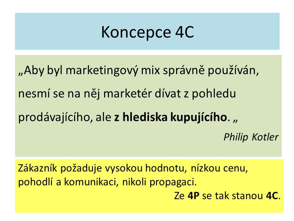 """Koncepce 4C """"Aby byl marketingový mix správně používán, nesmí se na něj marketér dívat z pohledu prodávajícího, ale z hlediska kupujícího. """" Philip Ko"""