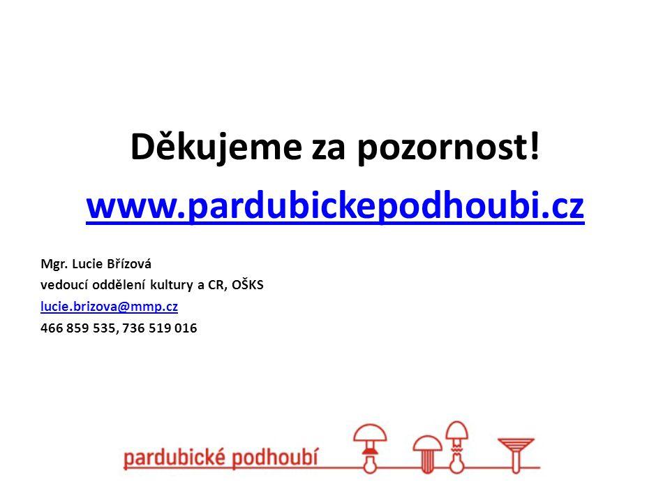 Děkujeme za pozornost! www.pardubickepodhoubi.cz Mgr. Lucie Břízová vedoucí oddělení kultury a CR, OŠKS lucie.brizova@mmp.cz 466 859 535, 736 519 016