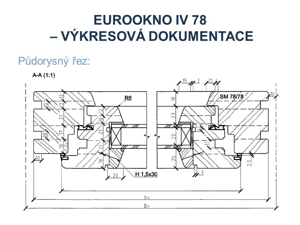 EUROOKNO IV 78 – VÝKRESOVÁ DOKUMENTACE Půdorysný řez: