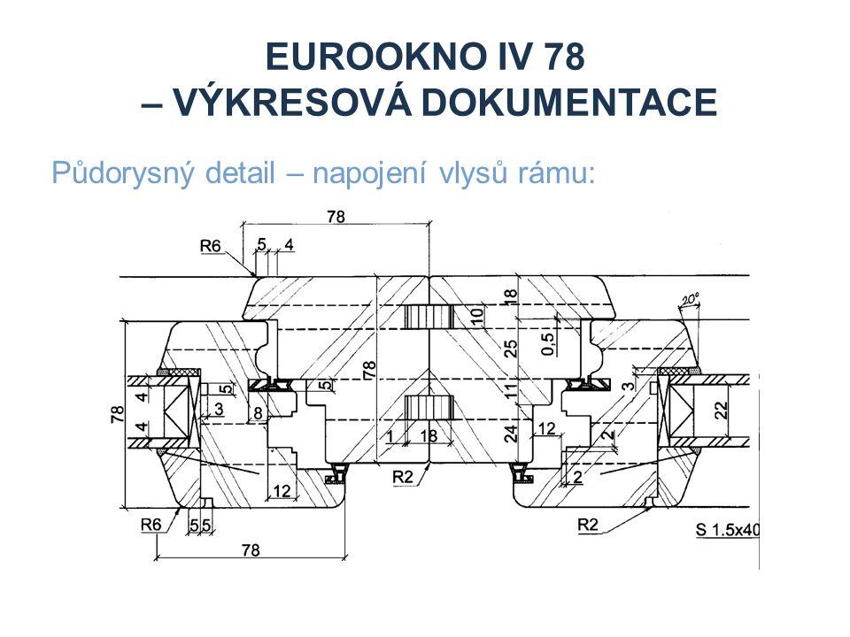EUROOKNO IV 78 – VÝKRESOVÁ DOKUMENTACE Půdorysný detail – napojení vlysů rámu: