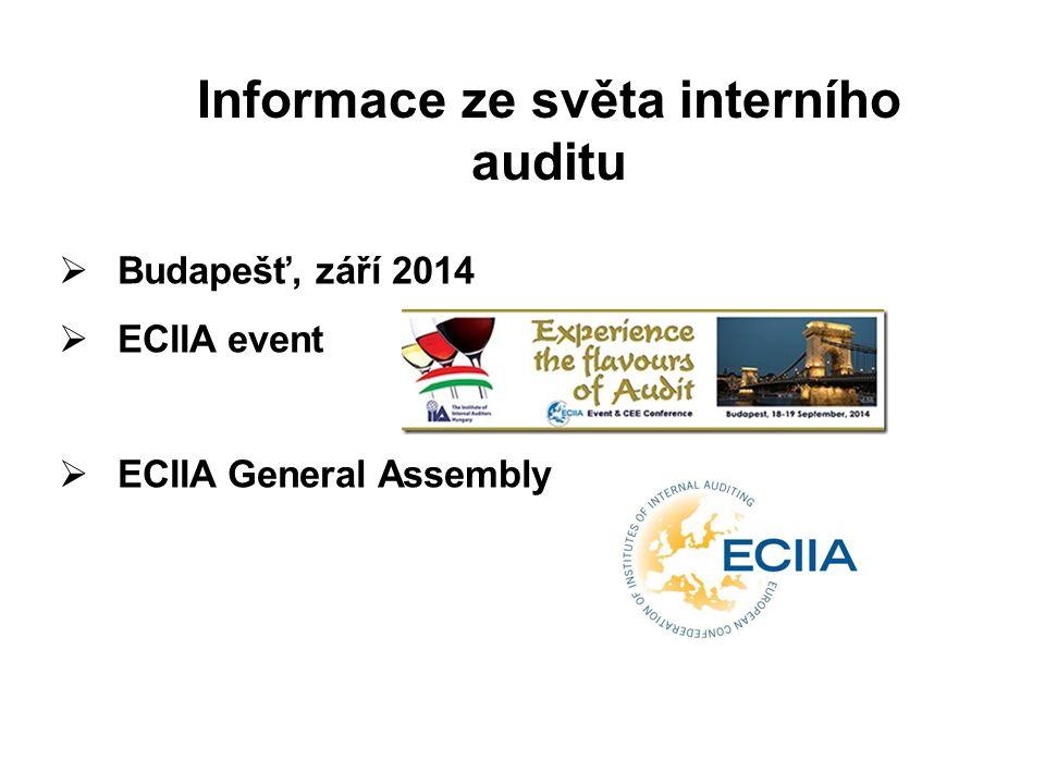 strana 2 Informace ze světa interního auditu  Budapešť, září 2014  ECIIA event  ECIIA General Assembly