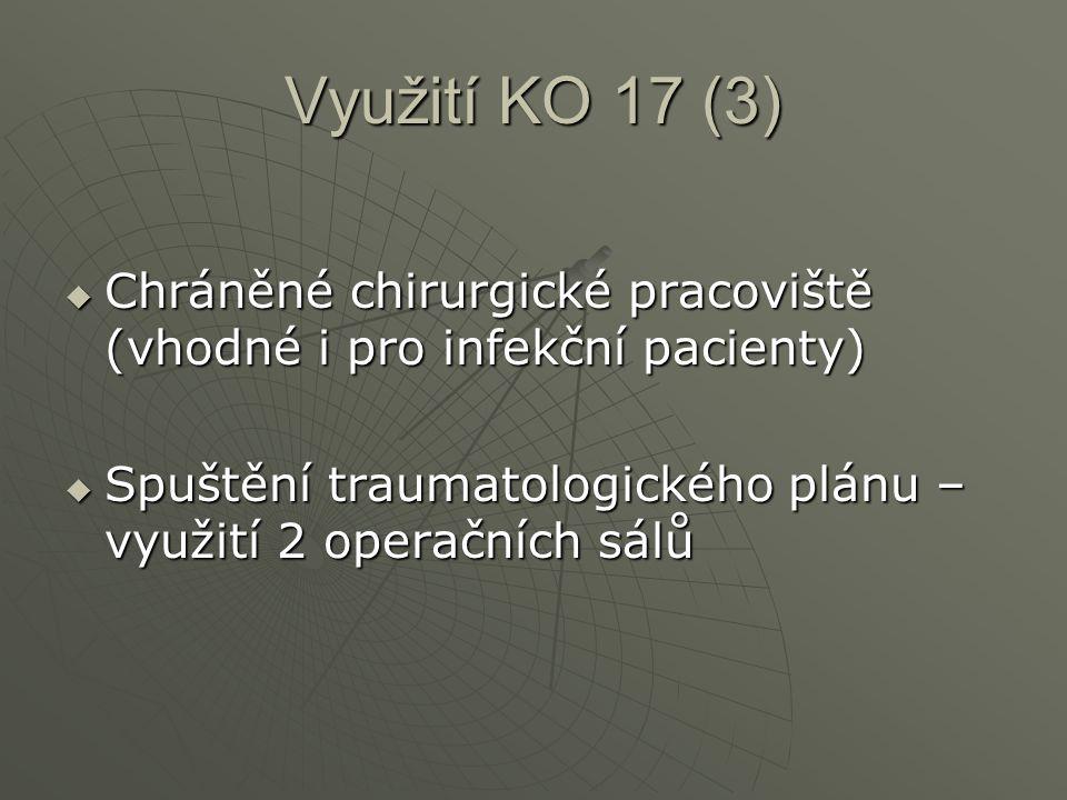Využití KO 17 (3)  Chráněné chirurgické pracoviště (vhodné i pro infekční pacienty)  Spuštění traumatologického plánu – využití 2 operačních sálů