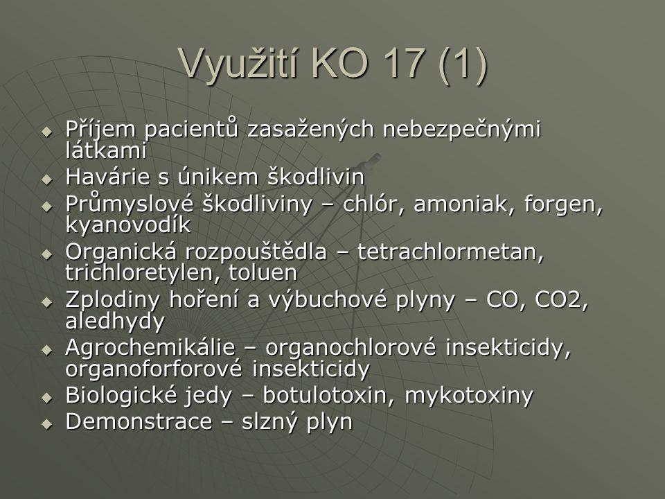 Využití KO 17 (1)  Příjem pacientů zasažených nebezpečnými látkami  Havárie s únikem škodlivin  Průmyslové škodliviny – chlór, amoniak, forgen, kyanovodík  Organická rozpouštědla – tetrachlormetan, trichloretylen, toluen  Zplodiny hoření a výbuchové plyny – CO, CO2, aledhydy  Agrochemikálie – organochlorové insekticidy, organoforforové insekticidy  Biologické jedy – botulotoxin, mykotoxiny  Demonstrace – slzný plyn