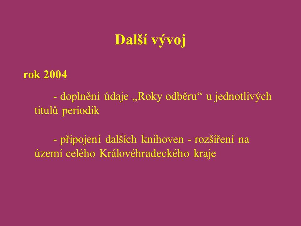 """Další vývoj rok 2004 - doplnění údaje """"Roky odběru u jednotlivých titulů periodik - připojení dalších knihoven - rozšíření na území celého Královéhradeckého kraje"""