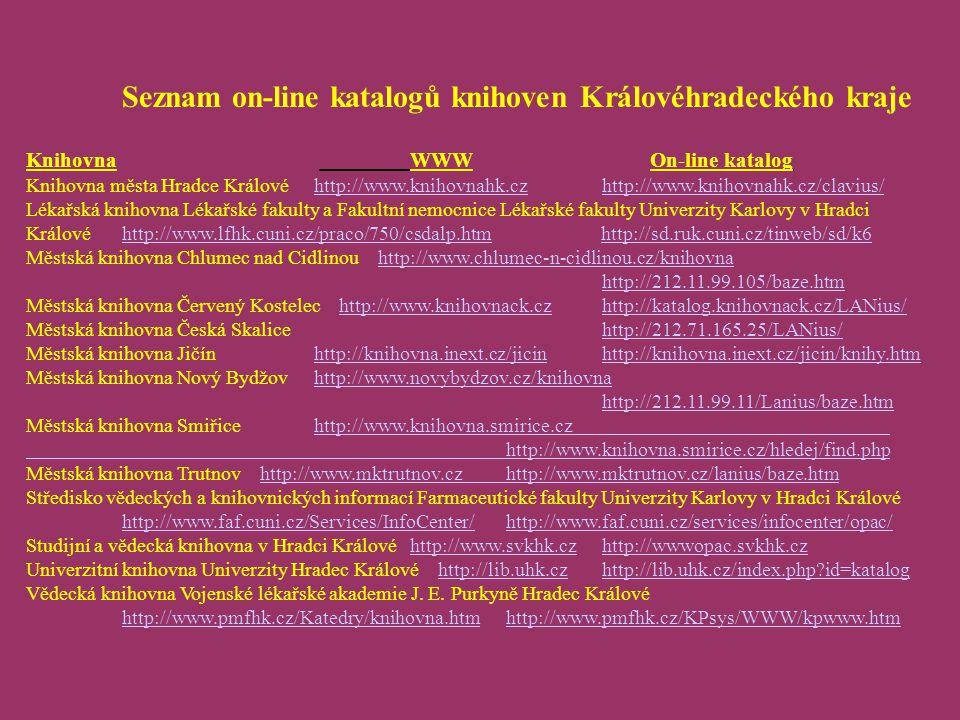 Seznam on-line katalogů knihoven Královéhradeckého kraje Knihovna WWW On-line katalog Knihovna města Hradce Královéhttp://www.knihovnahk.czhttp://www.knihovnahk.cz/clavius/http://www.knihovnahk.czhttp://www.knihovnahk.cz/clavius/ Lékařská knihovna Lékařské fakulty a Fakultní nemocnice Lékařské fakulty Univerzity Karlovy v Hradci Královéhttp://www.lfhk.cuni.cz/praco/750/csdalp.htm http://sd.ruk.cuni.cz/tinweb/sd/k6http://www.lfhk.cuni.cz/praco/750/csdalp.htmhttp://sd.ruk.cuni.cz/tinweb/sd/k6 Městská knihovna Chlumec nad Cidlinou http://www.chlumec-n-cidlinou.cz/knihovnahttp://www.chlumec-n-cidlinou.cz/knihovna http://212.11.99.105/baze.htm Městská knihovna Červený Kostelec http://www.knihovnack.czhttp://katalog.knihovnack.cz/LANius/http://www.knihovnack.czhttp://katalog.knihovnack.cz/LANius/ Městská knihovna Česká Skalicehttp://212.71.165.25/LANius/http://212.71.165.25/LANius/ Městská knihovna Jičínhttp://knihovna.inext.cz/jicinhttp://knihovna.inext.cz/jicin/knihy.htmhttp://knihovna.inext.cz/jicinhttp://knihovna.inext.cz/jicin/knihy.htm Městská knihovna Nový Bydžovhttp://www.novybydzov.cz/knihovna http://212.11.99.11/Lanius/baze.htmhttp://www.novybydzov.cz/knihovna http://212.11.99.11/Lanius/baze.htm Městská knihovna Smiřicehttp://www.knihovna.smirice.cz http://www.knihovna.smirice.cz/hledej/find.phphttp://www.knihovna.smirice.cz http://www.knihovna.smirice.cz/hledej/find.php Městská knihovna Trutnov http://www.mktrutnov.czhttp://www.mktrutnov.cz/lanius/baze.htmhttp://www.mktrutnov.czhttp://www.mktrutnov.cz/lanius/baze.htm Středisko vědeckých a knihovnických informací Farmaceutické fakulty Univerzity Karlovy v Hradci Králové http://www.faf.cuni.cz/Services/InfoCenter/http://www.faf.cuni.cz/services/infocenter/opac/ http://www.faf.cuni.cz/Services/InfoCenter/http://www.faf.cuni.cz/services/infocenter/opac/ Studijní a vědecká knihovna v Hradci Královéhttp://www.svkhk.czhttp://wwwopac.svkhk.czhttp://www.svkhk.czhttp://wwwopac.svkhk.cz Univerzitní knihovna Univerzity Hra