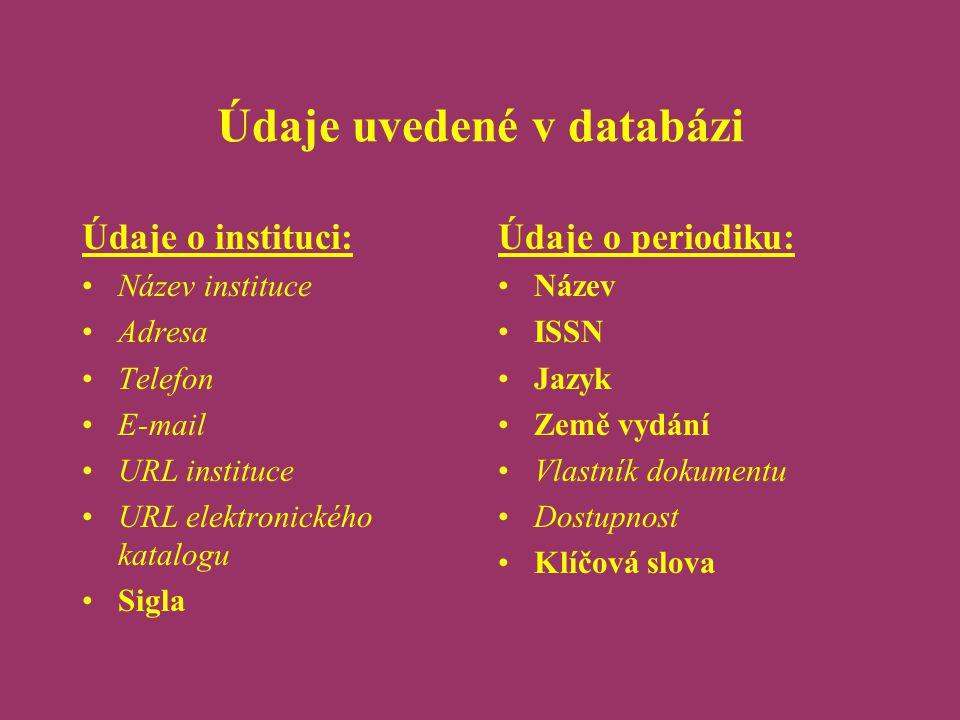 Údaje uvedené v databázi Údaje o instituci: Název instituce Adresa Telefon E-mail URL instituce URL elektronického katalogu Sigla Údaje o periodiku: N