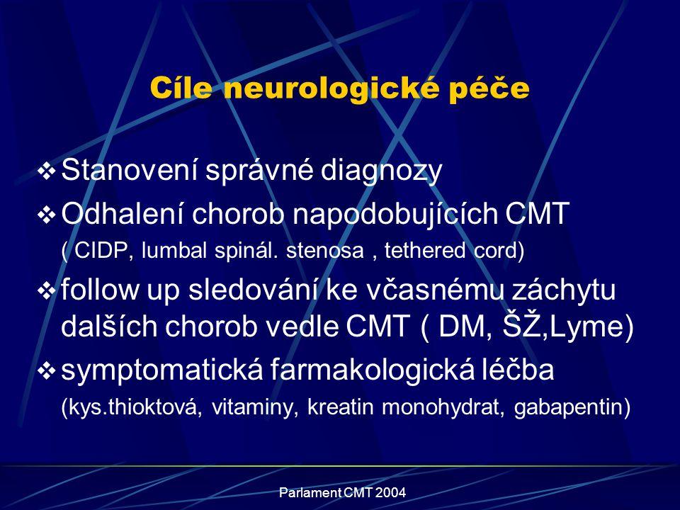 Parlament CMT 2004 Cíle neurologické péče  Stanovení správné diagnozy  Odhalení chorob napodobujících CMT ( CIDP, lumbal spinál. stenosa, tethered c