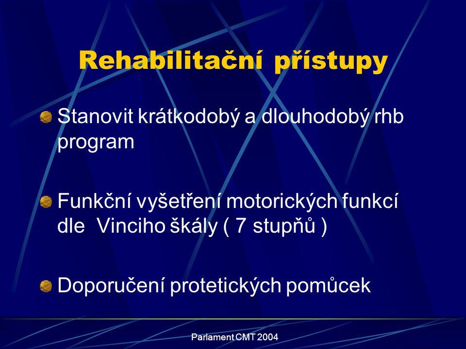 Parlament CMT 2004 Rehabilitační přístupy Stanovit krátkodobý a dlouhodobý rhb program Funkční vyšetření motorických funkcí dle Vinciho škály ( 7 stup