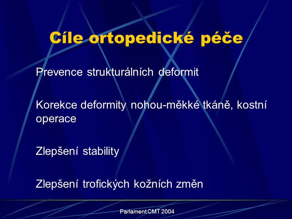 Parlament CMT 2004 Cíle ortopedické péče Prevence strukturálních deformit Korekce deformity nohou-měkké tkáně, kostní operace Zlepšení stability Zlepš
