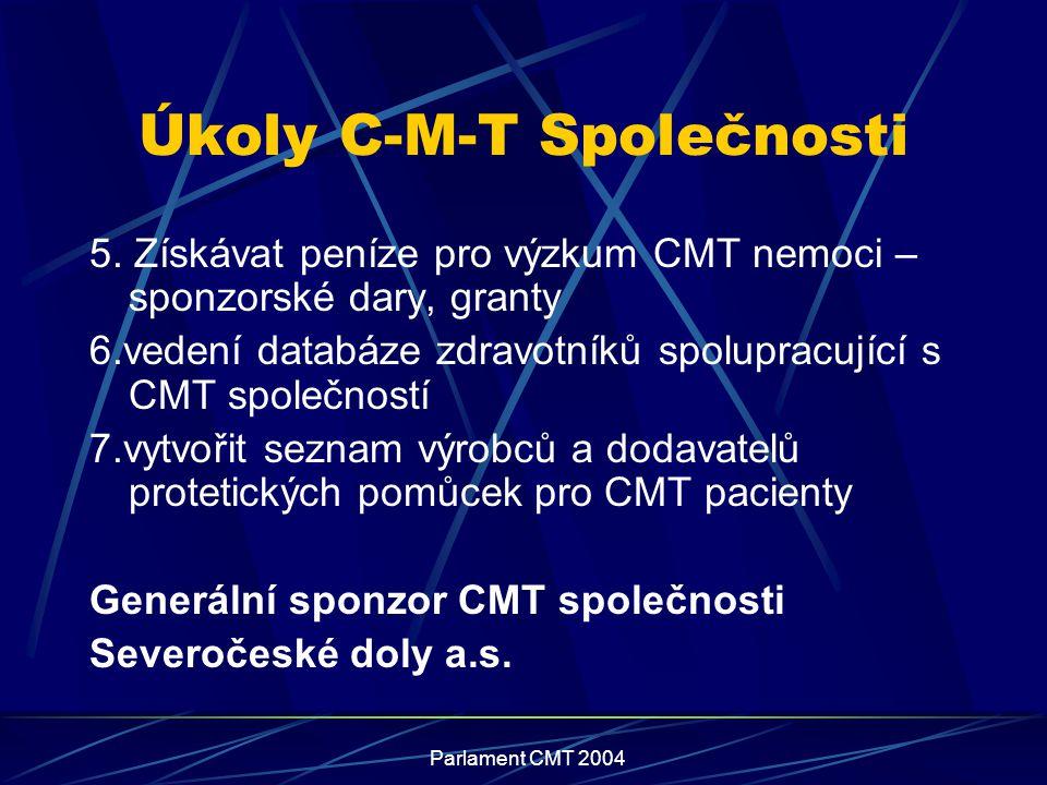 Parlament CMT 2004 Úkoly C-M-T Společnosti 5. Získávat peníze pro výzkum CMT nemoci – sponzorské dary, granty 6.vedení databáze zdravotníků spolupracu