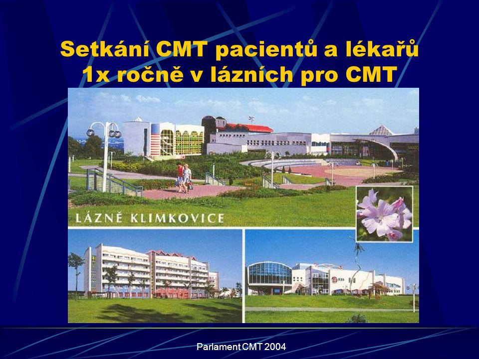 Parlament CMT 2004 Setkání CMT pacientů a lékařů 1x ročně v lázních pro CMT