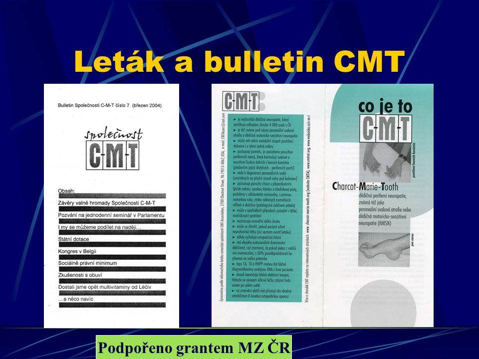 Parlament CMT 2004 Leták a bulletin CMT Podpořeno grantem MZ ČR