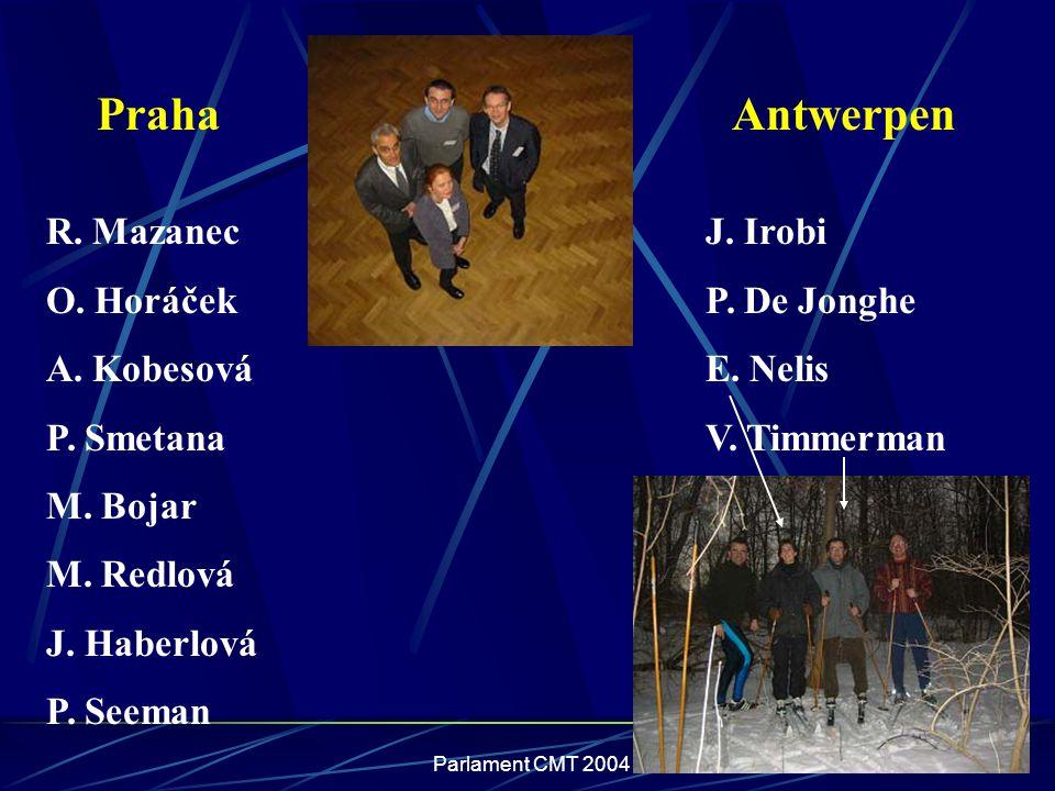 Parlament CMT 2004 R. Mazanec O. Horáček A. Kobesová P. Smetana M. Bojar M. Redlová J. Haberlová P. Seeman PrahaAntwerpen J. Irobi P. De Jonghe E. Nel