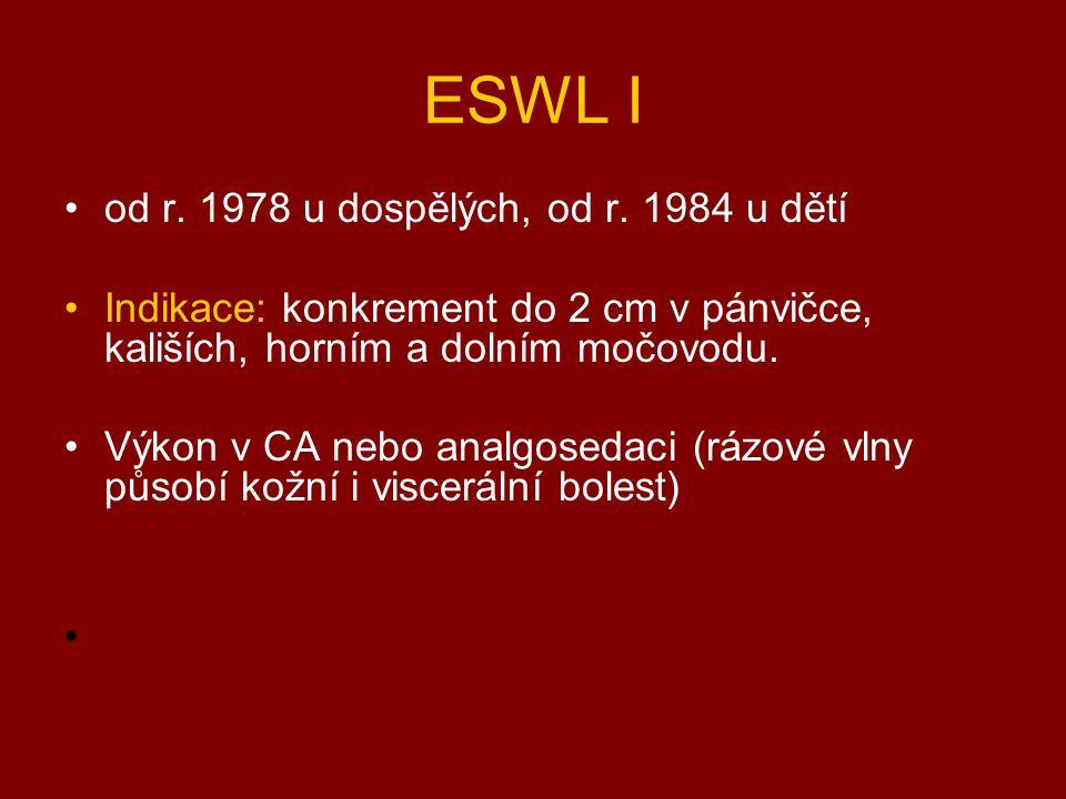 ESWL I od r. 1978 u dospělých, od r. 1984 u dětí Indikace: konkrement do 2 cm v pánvičce, kališích, horním a dolním močovodu. Výkon v CA nebo analgose