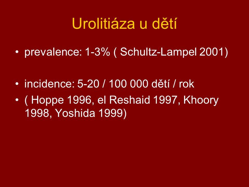 Urolitiáza u dětí prevalence: 1-3% ( Schultz-Lampel 2001) incidence: 5-20 / 100 000 dětí / rok ( Hoppe 1996, el Reshaid 1997, Khoory 1998, Yoshida 199