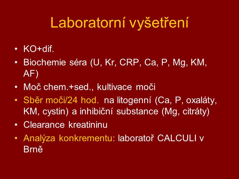 Laboratorní vyšetření KO+dif. Biochemie séra (U, Kr, CRP, Ca, P, Mg, KM, AF) Moč chem.+sed., kultivace moči Sběr moči/24 hod. na litogenní (Ca, P, oxa