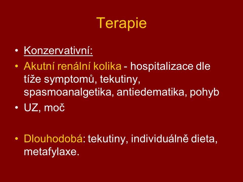 Terapie Konzervativní: Akutní renální kolika - hospitalizace dle tíže symptomů, tekutiny, spasmoanalgetika, antiedematika, pohyb UZ, moč Dlouhodobá: t