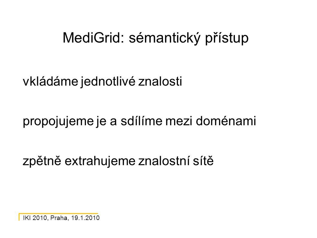 IKI 2010, Praha, 19.1.2010 MediGrid: sémantický přístup vkládáme jednotlivé znalosti propojujeme je a sdílíme mezi doménami zpětně extrahujeme znalostní sítě