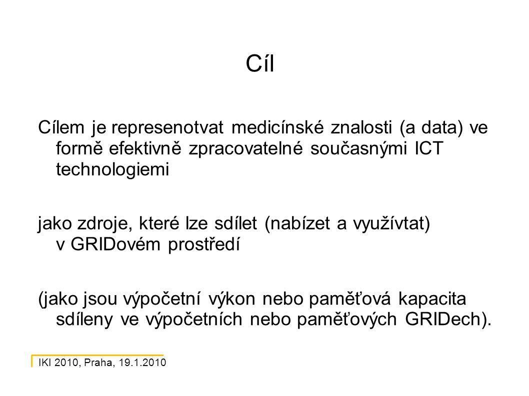 IKI 2010, Praha, 19.1.2010 Cíl Cílem je represenotvat medicínské znalosti (a data) ve formě efektivně zpracovatelné současnými ICT technologiemi jako zdroje, které lze sdílet (nabízet a využívtat) v GRIDovém prostředí (jako jsou výpočetní výkon nebo paměťová kapacita sdíleny ve výpočetních nebo paměťových GRIDech).