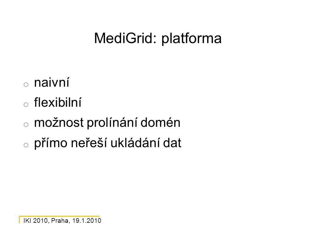 IKI 2010, Praha, 19.1.2010 MediGrid: platforma o naivní o flexibilní o možnost prolínání domén o přímo neřeší ukládání dat