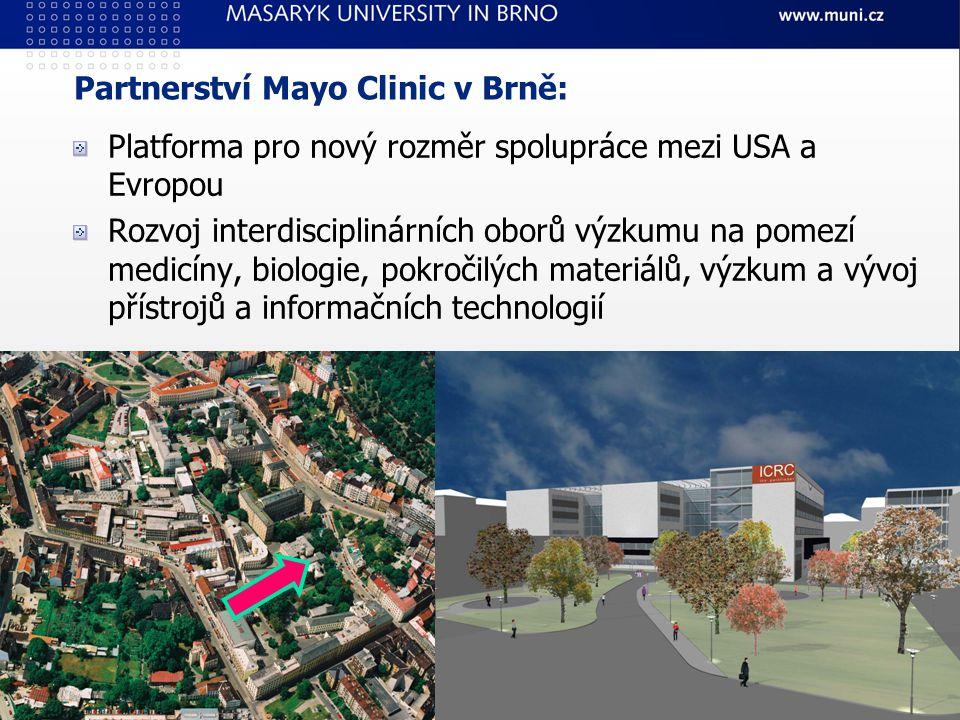 Platforma pro nový rozměr spolupráce mezi USA a Evropou Rozvoj interdisciplinárních oborů výzkumu na pomezí medicíny, biologie, pokročilých materiálů, výzkum a vývoj přístrojů a informačních technologií Partnerství Mayo Clinic v Brně:
