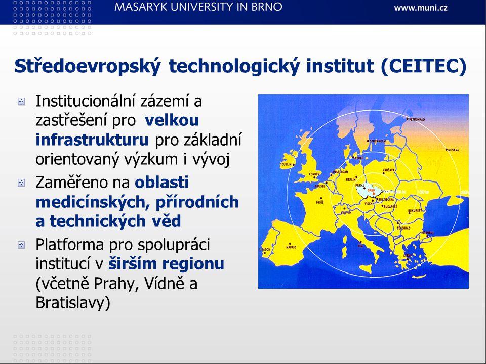 Středoevropský technologický institut (CEITEC) Institucionální zázemí a zastřešení pro velkou infrastrukturu pro základní orientovaný výzkum i vývoj Zaměřeno na oblasti medicínských, přírodních a technických věd Platforma pro spolupráci institucí v širším regionu (včetně Prahy, Vídně a Bratislavy)