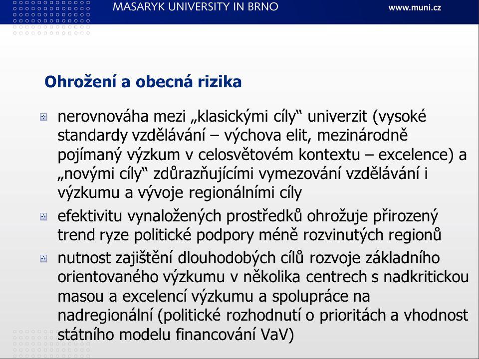 """Ohrožení a obecná rizika nerovnováha mezi """"klasickými cíly univerzit (vysoké standardy vzdělávání – výchova elit, mezinárodně pojímaný výzkum v celosvětovém kontextu – excelence) a """"novými cíly zdůrazňujícími vymezování vzdělávání i výzkumu a vývoje regionálními cíly efektivitu vynaložených prostředků ohrožuje přirozený trend ryze politické podpory méně rozvinutých regionů nutnost zajištění dlouhodobých cílů rozvoje základního orientovaného výzkumu v několika centrech s nadkritickou masou a excelencí výzkumu a spolupráce na nadregionální (politické rozhodnutí o prioritách a vhodnost státního modelu financování VaV)"""