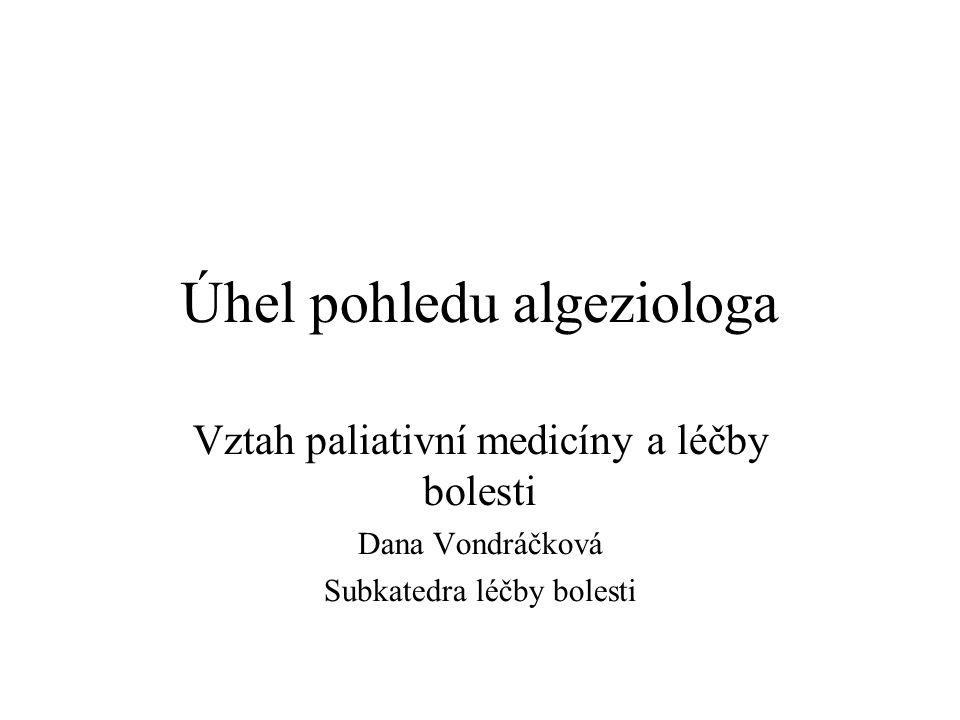 Úhel pohledu algeziologa Vztah paliativní medicíny a léčby bolesti Dana Vondráčková Subkatedra léčby bolesti