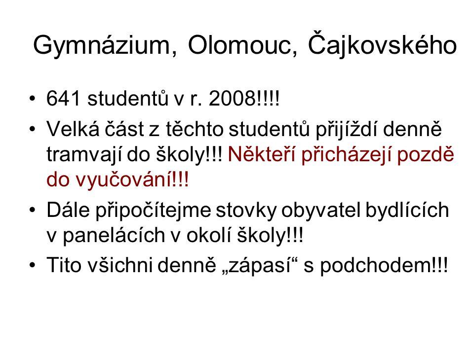 Gymnázium, Olomouc, Čajkovského 641 studentů v r. 2008!!!.