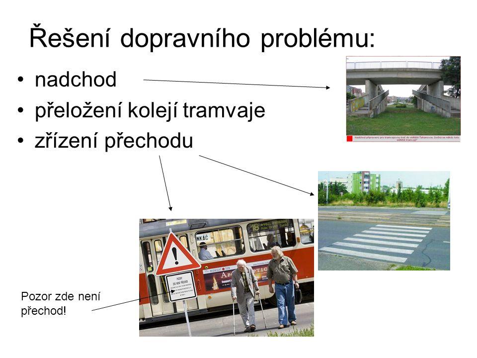 Řešení dopravního problému: nadchod přeložení kolejí tramvaje zřízení přechodu Pozor zde není přechod!