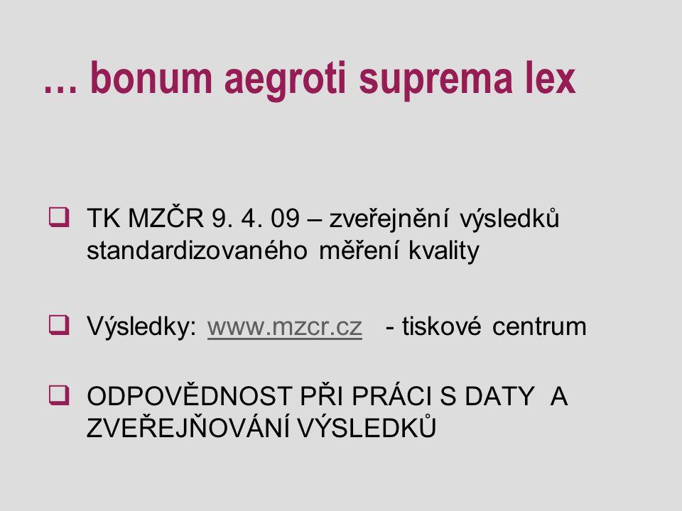 … bonum aegroti suprema lex  TK MZČR 9. 4.