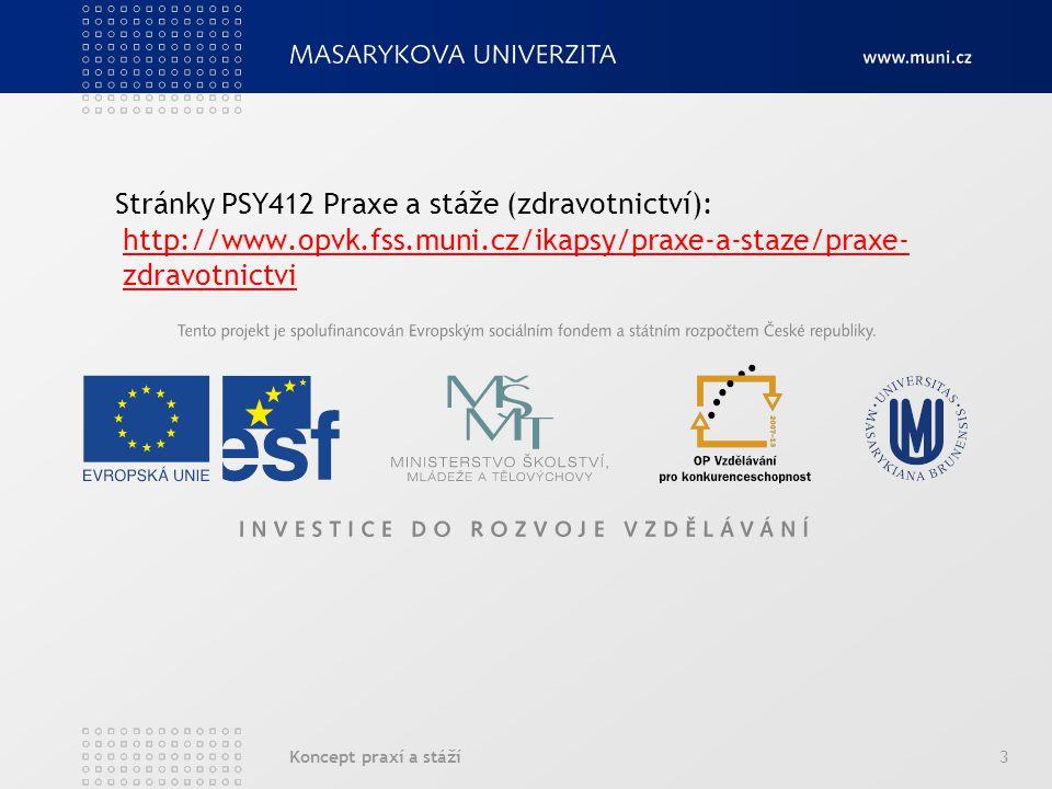 Koncept praxí a stáží3 Stránky PSY412 Praxe a stáže (zdravotnictví): http://www.opvk.fss.muni.cz/ikapsy/praxe-a-staze/praxe- zdravotnictvi http://www.opvk.fss.muni.cz/ikapsy/praxe-a-staze/praxe- zdravotnictvi