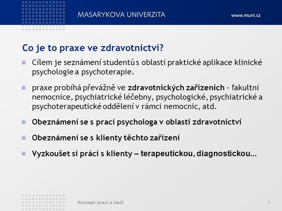 Koncept praxí a stáží5 Co je to praxe ve zdravotnictví.