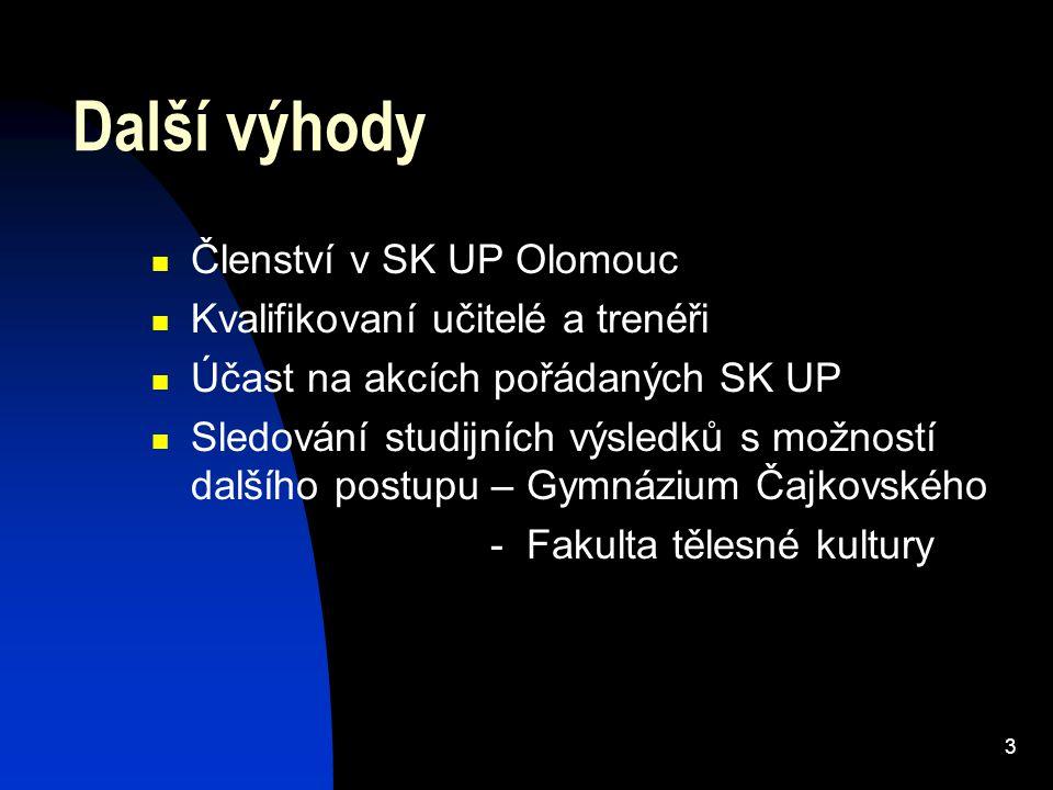 3 Další výhody Členství v SK UP Olomouc Kvalifikovaní učitelé a trenéři Účast na akcích pořádaných SK UP Sledování studijních výsledků s možností dalšího postupu – Gymnázium Čajkovského - Fakulta tělesné kultury