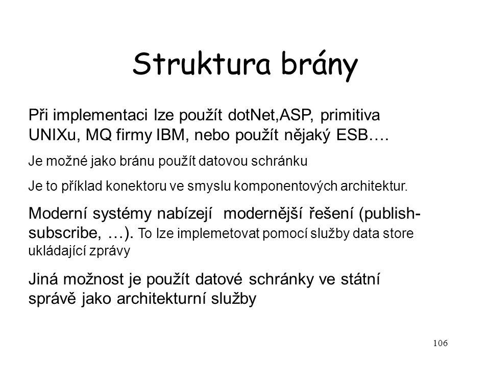106 Struktura brány Při implementaci lze použít dotNet,ASP, primitiva UNIXu, MQ firmy IBM, nebo použít nějaký ESB…. Je možné jako bránu použít datovou