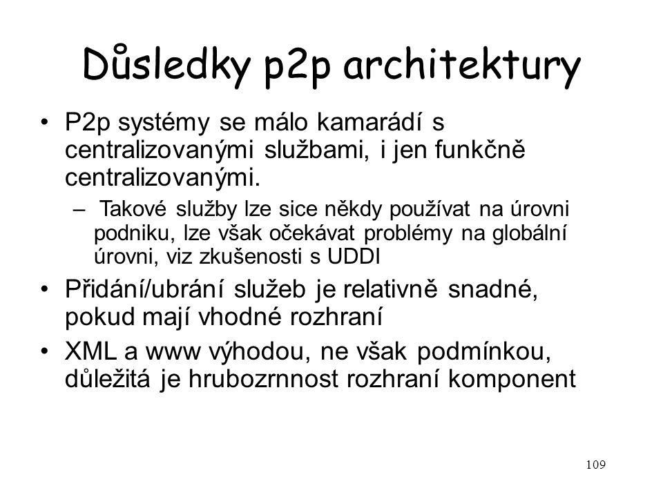 109 Důsledky p2p architektury P2p systémy se málo kamarádí s centralizovanými službami, i jen funkčně centralizovanými. – Takové služby lze sice někdy
