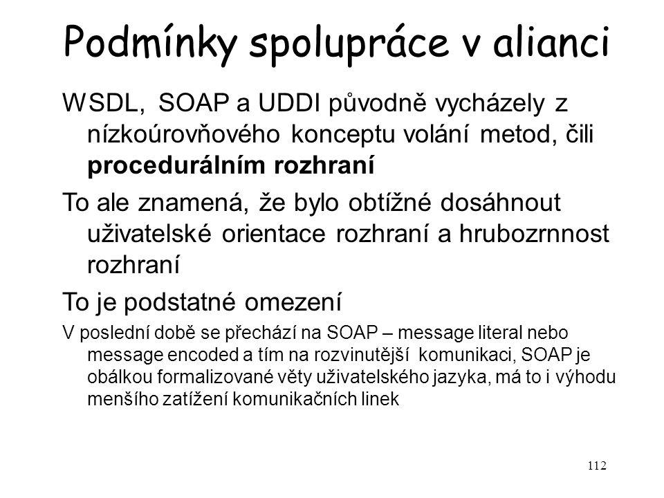 112 Podmínky spolupráce v alianci WSDL, SOAP a UDDI původně vycházely z nízkoúrovňového konceptu volání metod, čili procedurálním rozhraní To ale znam
