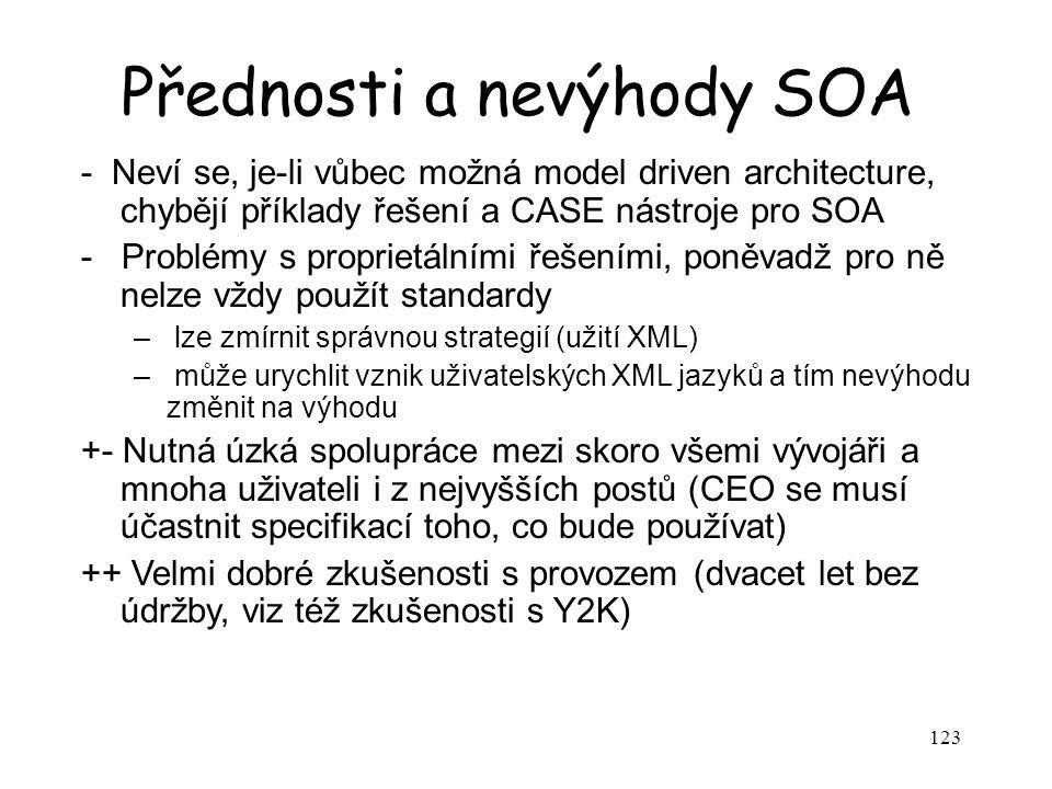 123 Přednosti a nevýhody SOA - Neví se, je-li vůbec možná model driven architecture, chybějí příklady řešení a CASE nástroje pro SOA - Problémy s prop
