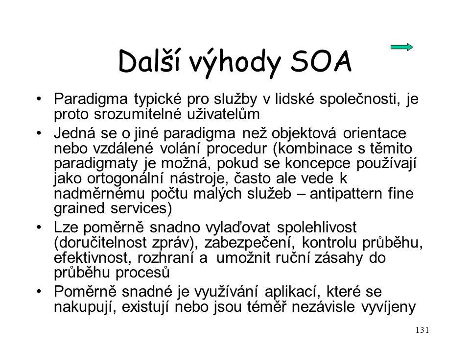 131 Další výhody SOA Paradigma typické pro služby v lidské společnosti, je proto srozumitelné uživatelům Jedná se o jiné paradigma než objektová orien
