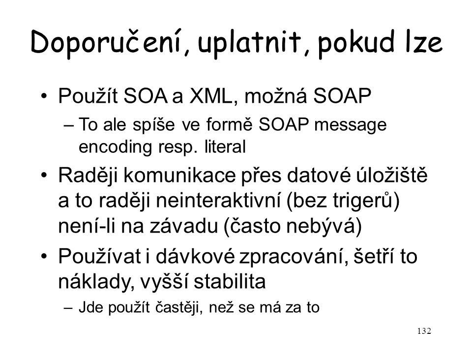 132 Doporučení, uplatnit, pokud lze Použít SOA a XML, možná SOAP –To ale spíše ve formě SOAP message encoding resp. literal Raději komunikace přes dat