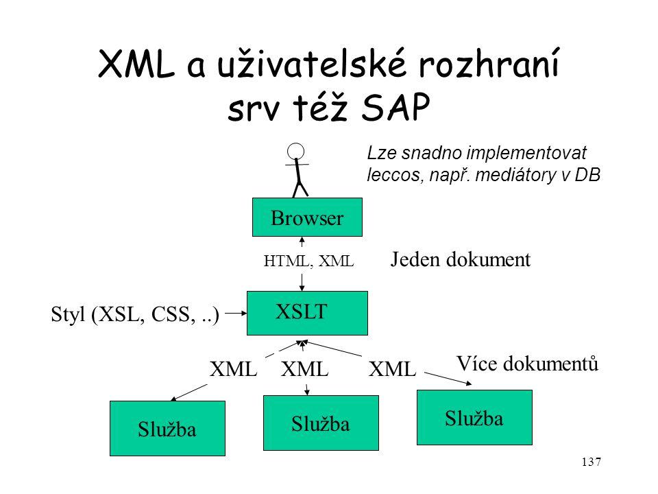 137 XML a uživatelské rozhraní srv též SAP Služba XSLT XML Styl (XSL, CSS,..) Browser HTML, XML Jeden dokument Více dokumentů Lze snadno implementovat
