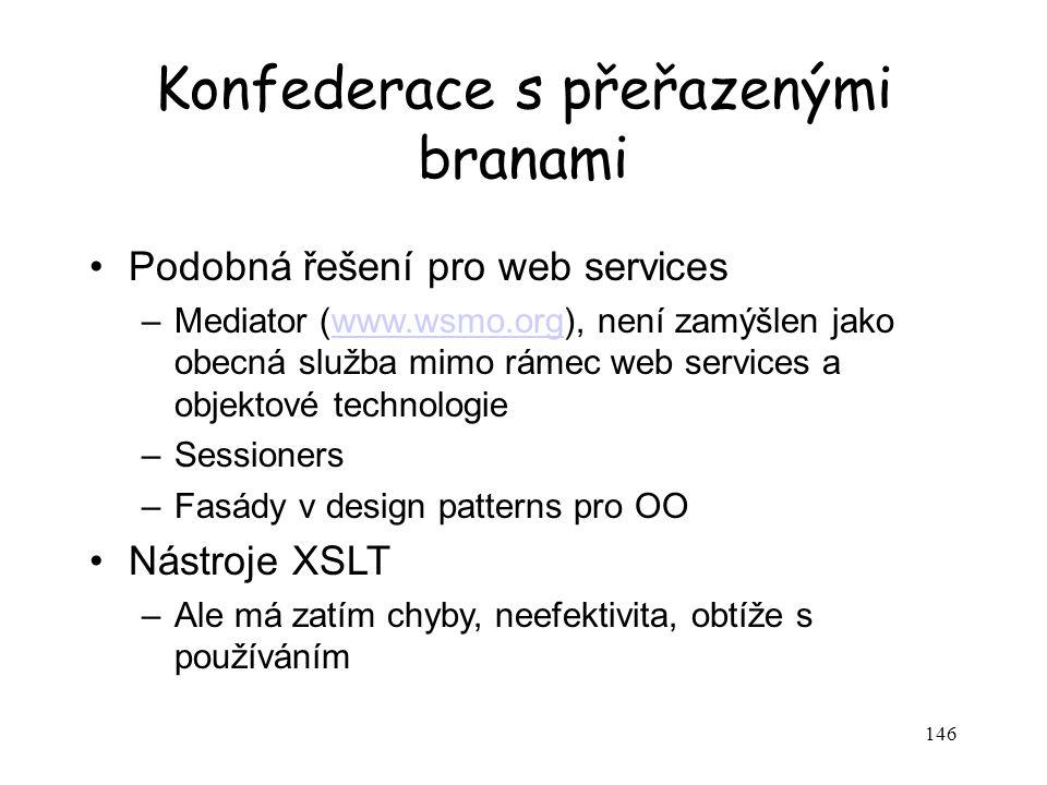 146 Konfederace s přeřazenými branami Podobná řešení pro web services –Mediator (www.wsmo.org), není zamýšlen jako obecná služba mimo rámec web servic
