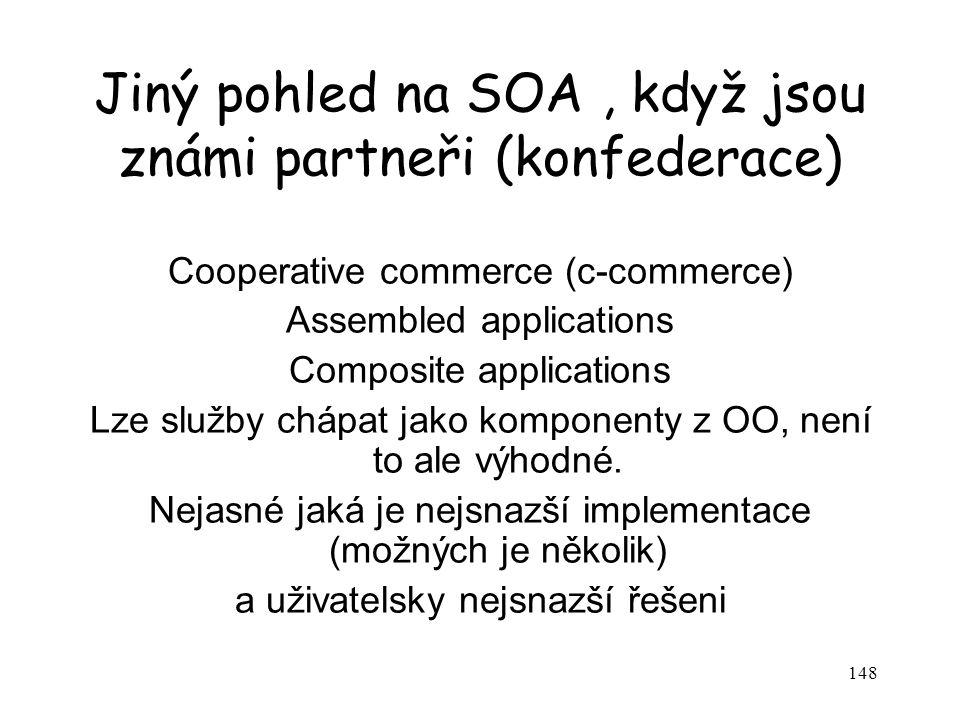 148 Jiný pohled na SOA, když jsou známi partneři (konfederace) Cooperative commerce (c-commerce) Assembled applications Composite applications Lze slu