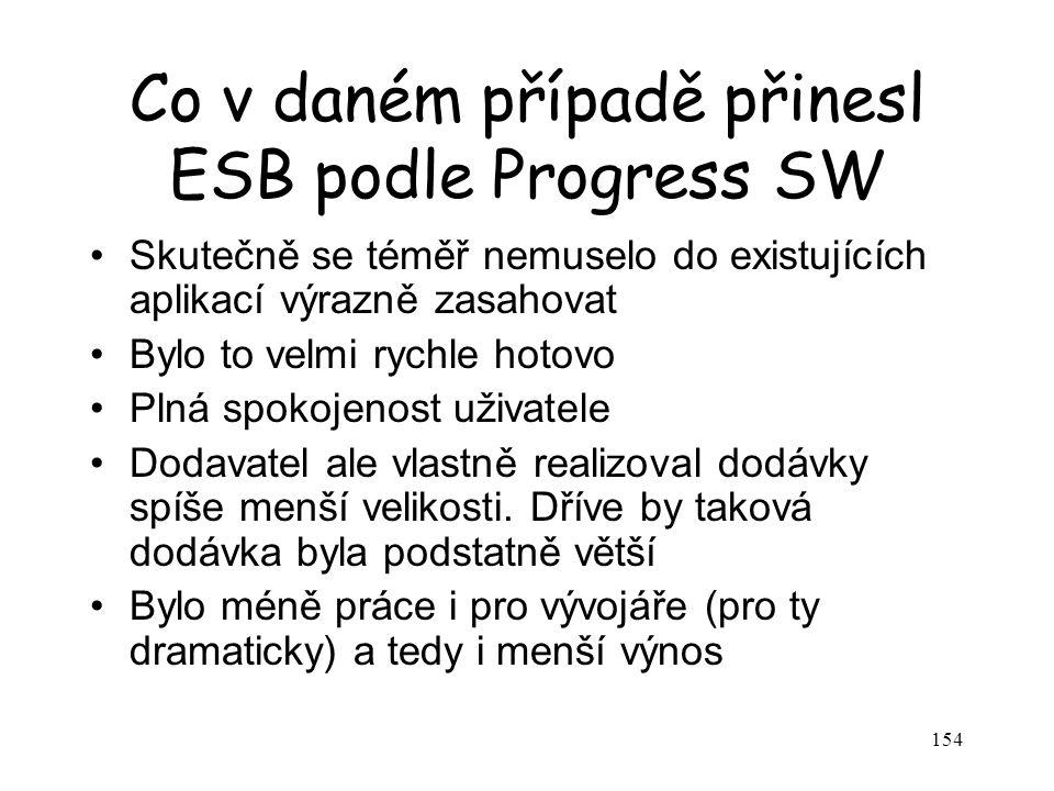 154 Co v daném případě přinesl ESB podle Progress SW Skutečně se téměř nemuselo do existujících aplikací výrazně zasahovat Bylo to velmi rychle hotovo